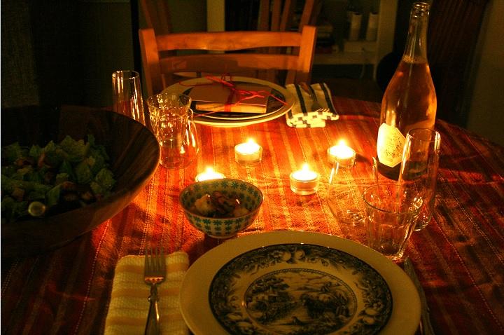 jantar noite romântica